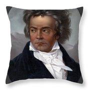 Ludwig Van Beethoven, German Composer Throw Pillow