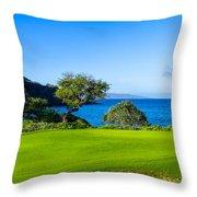 Makena Golf Course In Makena Area Throw Pillow
