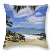 Makena, Secret Beach Throw Pillow