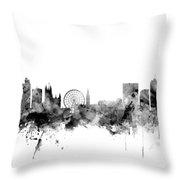 Manchester England Skyline Throw Pillow