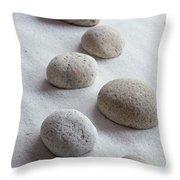 Meditation Stones On White Sand Throw Pillow