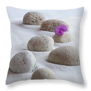 Meditation Stones Pink Flowers On White Sand Throw Pillow