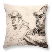 Men At Cafe Throw Pillow