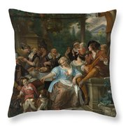 Merry Company On A Terrace Throw Pillow