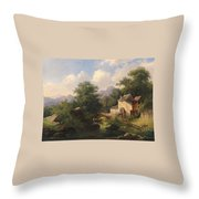 Mill With Angler Throw Pillow