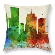 Milwaukee Skyline Panorama Uswiml-pa03 Throw Pillow