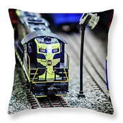 Miniature Toy Model Train Locomotives On Display Throw Pillow