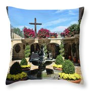 Mission Inn Chapel Courtyard Throw Pillow