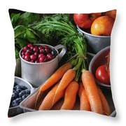 Mix Of Fruits, Vegetables And Berries Throw Pillow