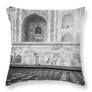 Monochrome Taj Mahal - Sunrise Throw Pillow