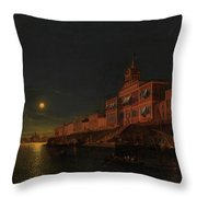 Moonlit Night On An Italian Lagoon Throw Pillow