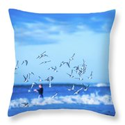 Morning Sunrise Over Ocean Waters Throw Pillow