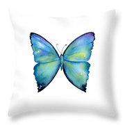 2 Morpho Aega Butterfly Throw Pillow