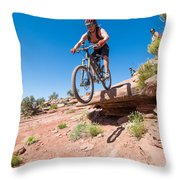 Mountain Biking The Porcupine Rim Trail Near Moab Throw Pillow
