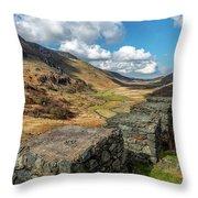 Nant Ffrancon Pass Snowdonia Throw Pillow