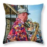 New Orleans Jazz Sax  Throw Pillow