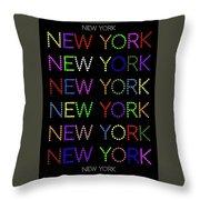 New York - Multicoloured On Black Background Throw Pillow