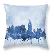 New York Skyline-blue Throw Pillow