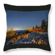 Northern Lights At Mount Pilchuck Throw Pillow
