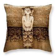 Noto, Sicily, Italy - Detail Of Baroque Balcony, 1750 Throw Pillow