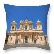 Noto, Sicily, Italy - San Nicolo Cathedral, Unesco Heritage Site Throw Pillow