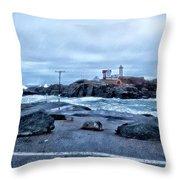 Nubble Light Lighthouse Throw Pillow