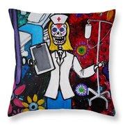 Nurse Dia De Los Muertos Throw Pillow