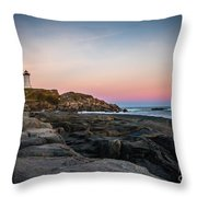 Ocean Lighthouse At Sunset Throw Pillow