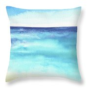 Ocean Watercolor Hand Painting Illustration. Throw Pillow