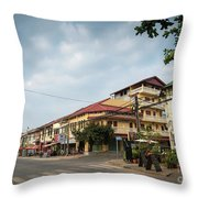 Old French Colonial Architecture In Kampot Town Street Cambodia Throw Pillow