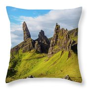 Old Man Of Storr, Isle Of Skye, Scotland Throw Pillow