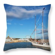 Old Sailing Boats In Helsinki City Harbor Port Finland Throw Pillow