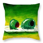 2 Olives On A White Plate Throw Pillow
