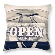 Open Sign Throw Pillow