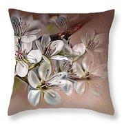 Oriental Pear Blossom Throw Pillow