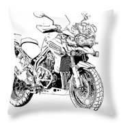 Original Motorcycle Portrait, Gift For Biker, Black And White Art Throw Pillow