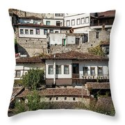 Ottoman Architecture View In Historic Berat Old Town Albania Throw Pillow