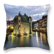 Palais De L'isle And Thiou River In Annecy Throw Pillow