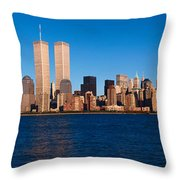 Panoramic View Of Lower Manhattan Throw Pillow