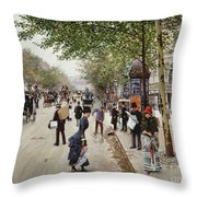 Parisian Street Scene Throw Pillow
