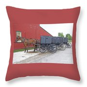 Amish Parking Lot Throw Pillow