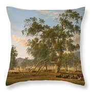 Patterdale Landscape With Cattle Throw Pillow