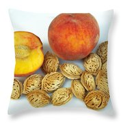 Peaches And Pits Throw Pillow