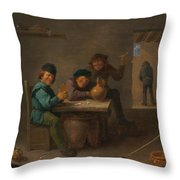 Peasants In A Tavern Throw Pillow