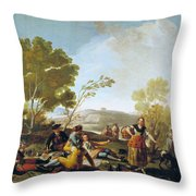 Picnic On The Banks Of The Manzanares Throw Pillow