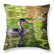 Pied-billed Grebe Bubbles Throw Pillow