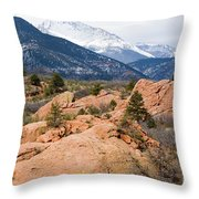 Pikes Peak From Red Rocks Canyon Throw Pillow