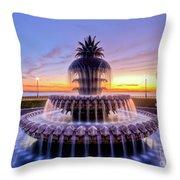 Pineapple Fountain Charleston Sc Sunrise Throw Pillow