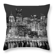 Pittsburgh Pennsylvania Skyline At Night Panorama Throw Pillow