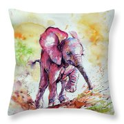 Playing Elephant Baby Throw Pillow